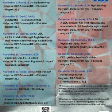 2018. novemberi – decemberi programok